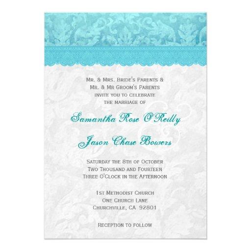 Aqua Blue and Silver Wedding Lace V200 Invitations