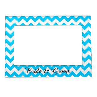 Aqua Blue and White Chevron Wedding Photo Frame Magnets