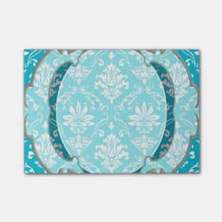 Aqua Blue and White Damask Post-it Notes