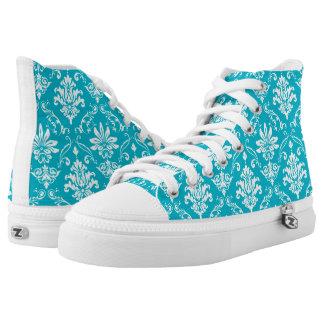 Aqua Blue and White Damask Printed Shoes