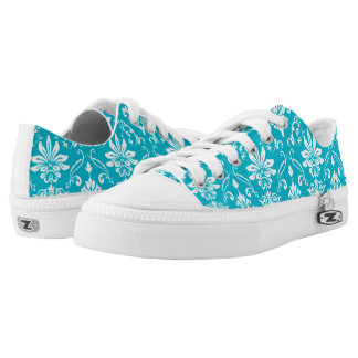 Aqua Blue and White Damask Printed Shoes
