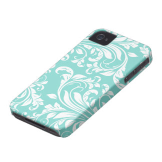 Aqua Blue and White Damasked Pattern iPhone 4 Covers