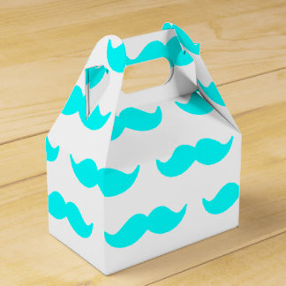 Aqua Blue and White Mustache Pattern 1 Favour Box
