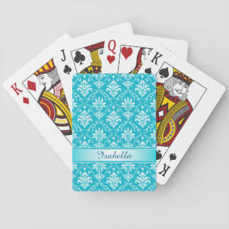 Aqua Blue and White Named Damask Playing Cards