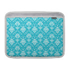 Aqua Blue and White Named Damask Sleeve For MacBook Air