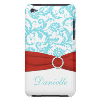 Aqua Blue and White with Red Faux Ribbon  iPod Touch Cases