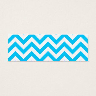 Aqua Blue and White Zig Zags Mini Business Card