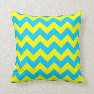 Aqua Blue and Yellow Zigzag Cushion