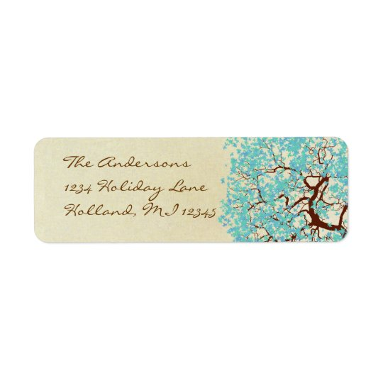 Aqua Blue Aqua Tree Return Address Return Address Label