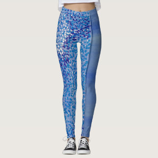 Aqua Blue Art Painted Leggings