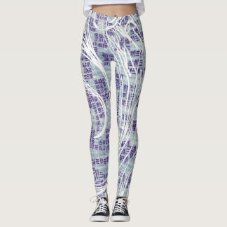 Aqua Blue Art Painted Swirl Leggings