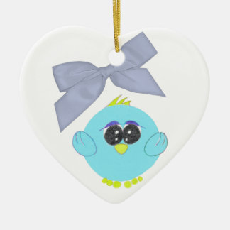 Aqua Blue Baby Bird Heart Ornament