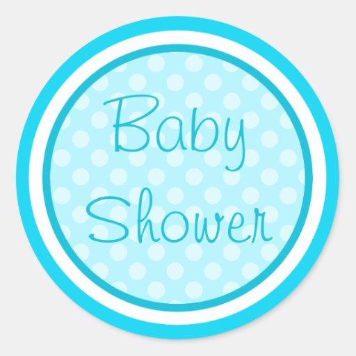Aqua Blue Baby Shower Stickers | Zazzle