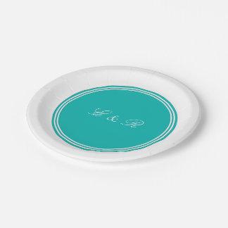 Aqua-Blue-Background 7 Inch Paper Plate
