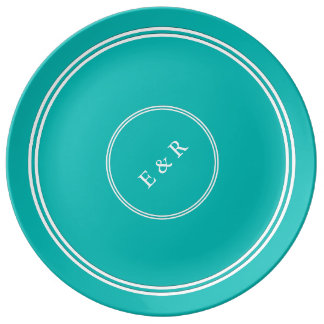 Aqua-Blue-Background Porcelain Plate
