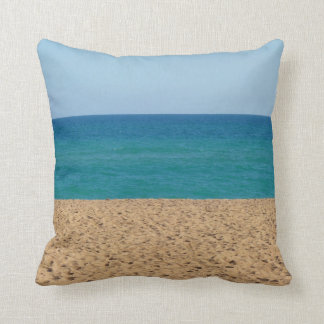 Aqua Blue Beach Throw Pillow
