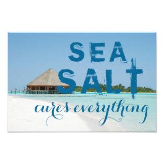 "Aqua Blue Beach with ""Sea Salt Cures Everything"" Photo Print"