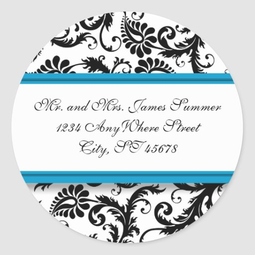 Aqua Blue Black Damask Address Wedding Stickers