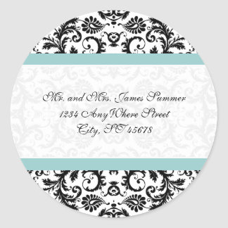Aqua Blue Black Damask Address Wedding Stickers