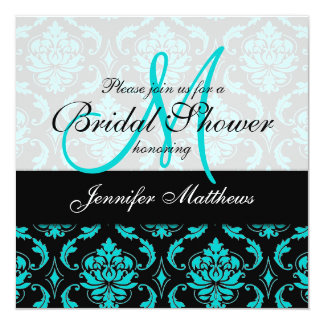 Aqua Blue Black Damask Bridal Shower Invitation