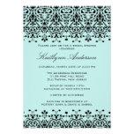 Aqua Blue & Black Damask Bridal Shower Invitation