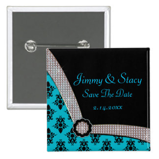 Aqua Blue & Black Damask Gem Sparkle 15 Cm Square Badge
