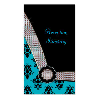 Aqua Blue & Black Damask Gem Sparkle Business Card Templates