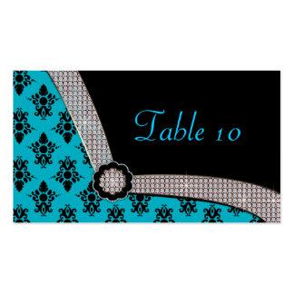 Aqua Blue & Black Damask Gem Sparkle Business Card