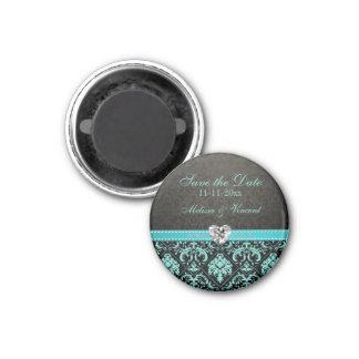 Aqua Blue / Black Damask Wedding Save the Date 3 Cm Round Magnet