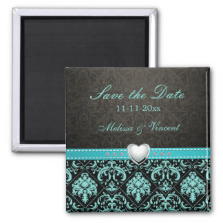 Aqua Blue / Black Damask Wedding Save the Date Refrigerator Magnets