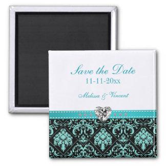 Aqua Blue / Black Damask Wedding Save the Date Magnet