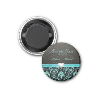 Aqua Blue / Black Damask Wedding Save the Date Fridge Magnet