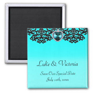 Aqua Blue & Black Ornate Heart Pendant Wedding Magnet