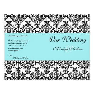Aqua Blue Black White Damask Wedding Program Custom Flyer