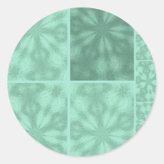 Aqua Blue Bohemian Patchwork Round Sticker