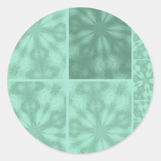 Aqua Blue Bohemian Patchwork Round Stickers