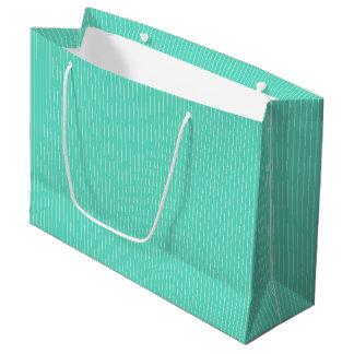 Aqua Blue Box with White Pinstripes Large Gift Bag
