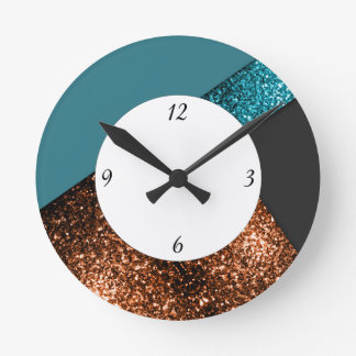 Aqua blue bronze sparkles design with numbers round clock
