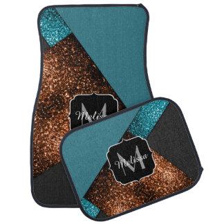 Aqua blue bronze sparkles modern Monogram Floor Mat