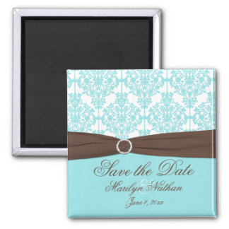 Aqua Blue, Brown, White Damask Save the Date Square Magnet