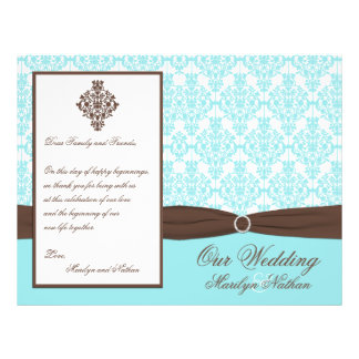 Aqua Blue, Brown, White Damask Wedding Program 21.5 Cm X 28 Cm Flyer