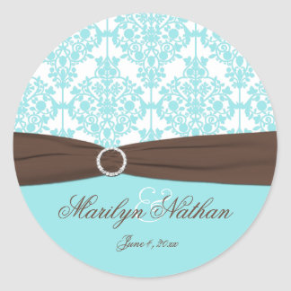 Aqua Blue, Brown, White Damask Wedding Sticker