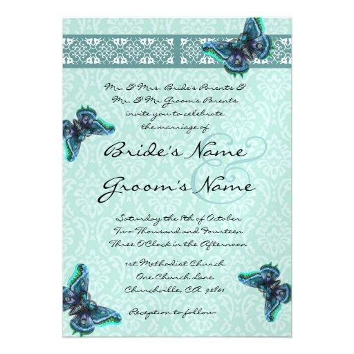 Aqua Blue Butterflies Damask Wedding Invitation