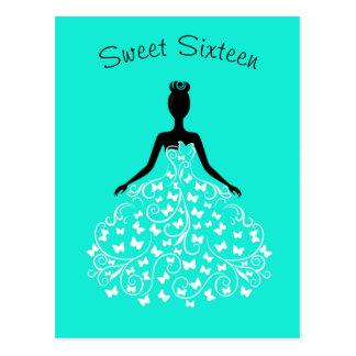 Aqua Blue Butterfly Gown Sweet Sixteen Invitation Postcard