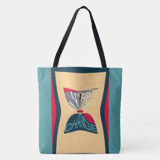 Aqua Blue Change USA Monogram Pattern design Tote Bag