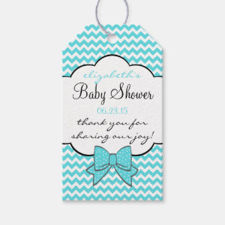 Aqua Blue Chevron Baby Shower Guest Favor Gift Tags