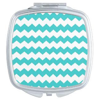 Aqua Blue Chevron Makeup Mirror