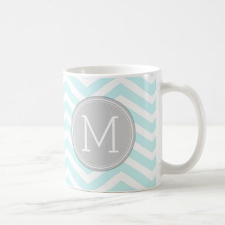Aqua Blue Chevron Pattern with monogram Coffee Mug