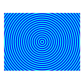 Aqua Blue Concentric Circles Postcard