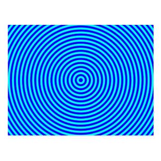 Aqua Blue Concentric Circles Postcard